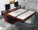 Cessna Citation 650 interior cabin table and video screens