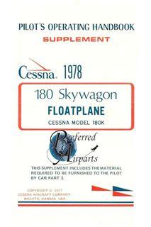 Picture of New Cessna 180 SkyWagon Floatplane Pilots Operating Handbook p/n D1128-13