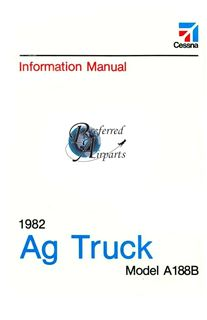 Picture of New 1982 Cessna A188B Ag Truck Pilot's Information Manual p/n D1220-13.