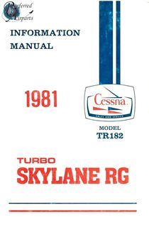 Picture of New 1981 Cessna Model TR182 Pilot Information Manual p/n D1199-13