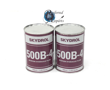 Picture of 1 Lot of 2 New Surplus Eastman Skydrol Fire-Resistant Hydraulic Fluid QT 500B4