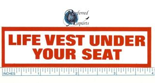 "Picture of 1 Lot of 50 ""Life Vest Under Your Seat"" Placard Sticker"