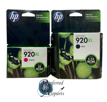 Picture of 1 LOT OF NIB GENUINE HP 920XL BLACK (CD975AN) & MAGENTA (CD973AN) INK CARTRIDGES